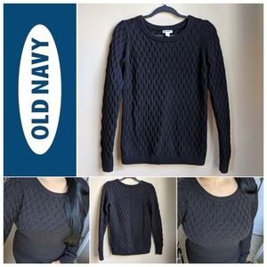 Old Navy Black Pullover Chunky Knit Sweater